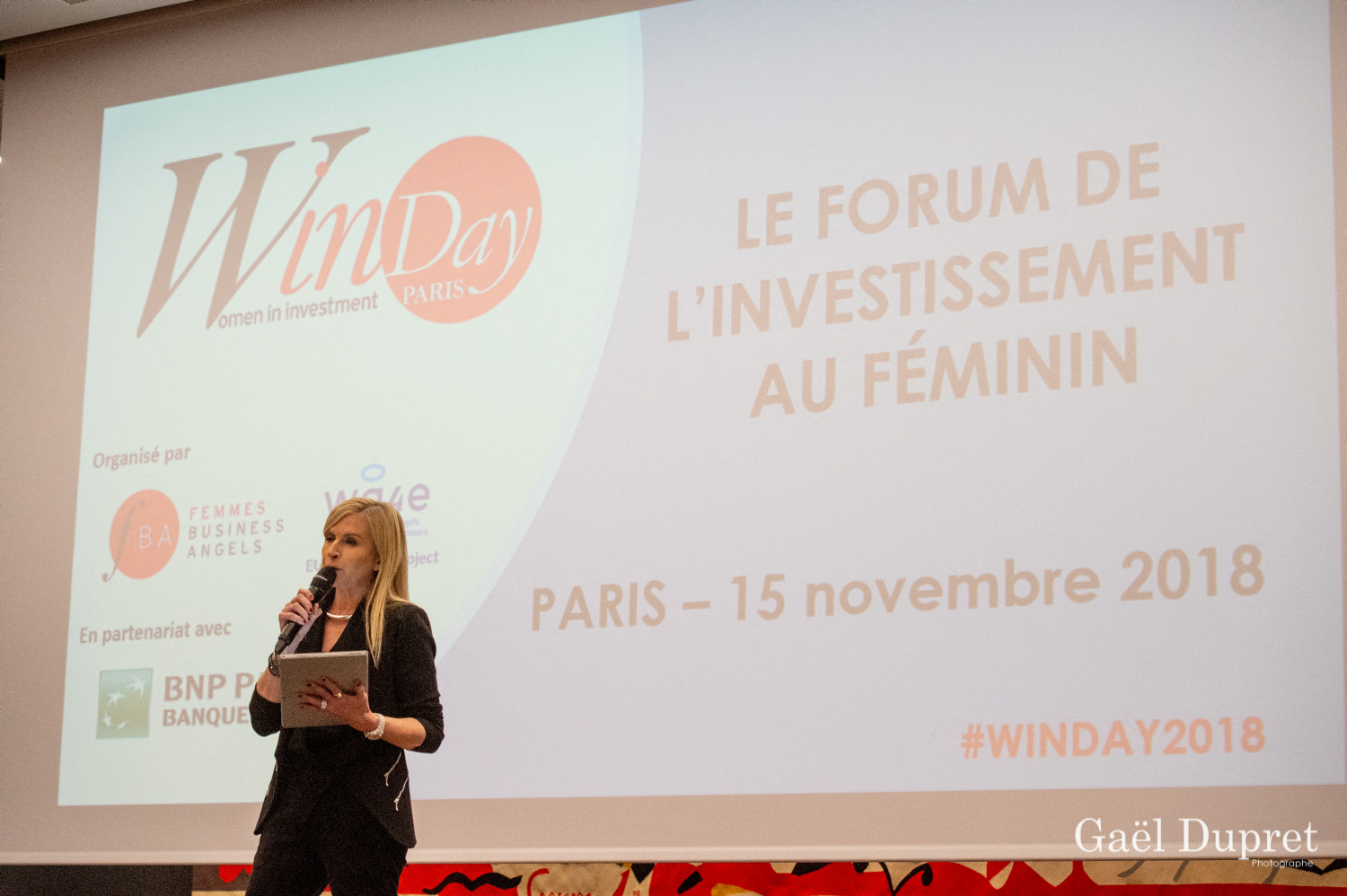 ©Gaël Dupret, France, Paris le 2018-11-15 : 2ème édition des WINDAY Paris par FBA - Femmes Business Angels. Photo : Isabelle GOUNIN-LEVY, Journaliste économique sur LCI.  Isabelle GOUNIN-LEVY, Economic Journalist on LCI.